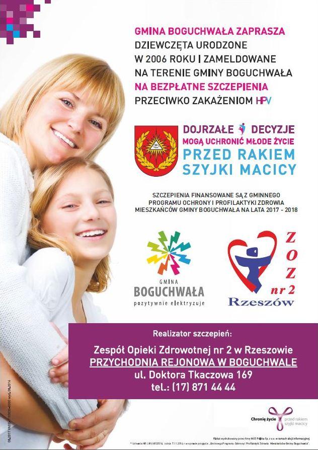 Bezpłatne szczepienia przeciw zakażeniom  wirusem HPV w Gminie Boguchwała